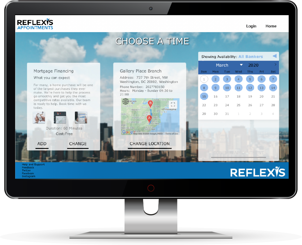 reflexis appointments on desktop monitor
